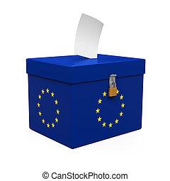 Ballot Box with European Union Flag isolated on white...