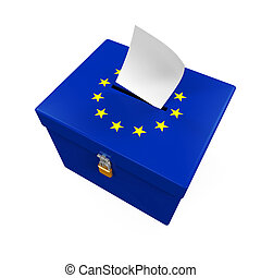 Ballot Box with European Union Flag isolated on white...