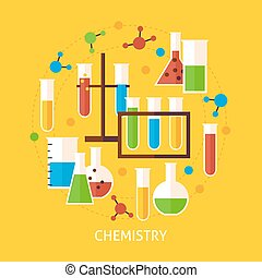 Chemistry Science Flat Vector Concept - Chemistry Science...