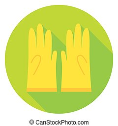Garden Gloves Circle Icon. Flat Design Vector Illustration...