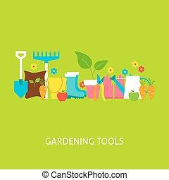 Gardening Tools Vector Flat Concept