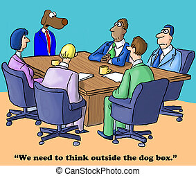 Out of the Box Thinking - Business cartoon about thinking...