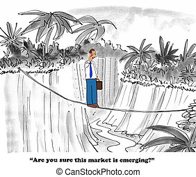Emerging Market - Business cartoon about a market that may...