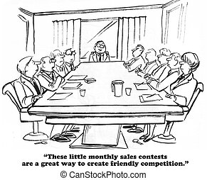 Sales Contest - Business cartoon about a monthly sales...