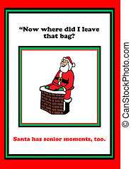Santa Claus - Holiday cartoon of Santa Claus having a senior...