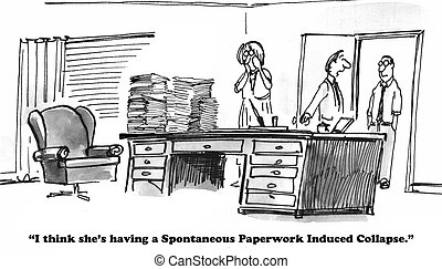 Paperwork - Business cartoon about the stress caused by too...