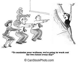Wellness at Work - Business cartoon about working out at...