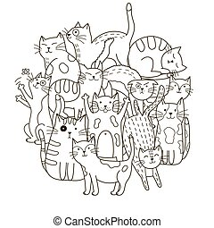 Circle shape pattern with cute cats for coloring book