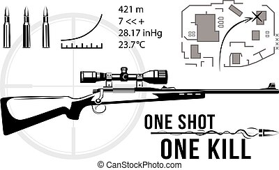 Set of firearms sniper rifles, tactical map, bullet flying