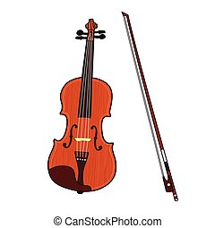 Wooden colorful violin with bow isolated on white background.