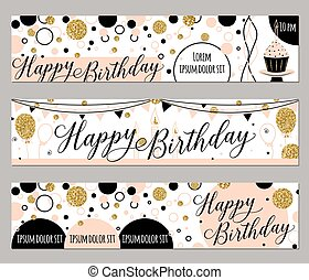 Vector illustration of happy birthday cards. Fashion background with cupcake, balloon, gold sparkles. Golden elements poster. Horizontal banners