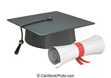 graduation cap diploma, 3D rendering