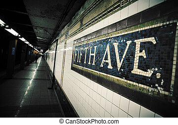Fifth Avenue Subway Station - Mosaic sign at The Fifth...