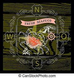 Vector  label with seafood crab silhouette, nautical accessory