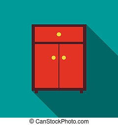 Drawer icon, flat style - Drawer icon in flat style with...