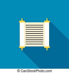 Torah scroll icon, flat style - Torah scroll icon in flat...