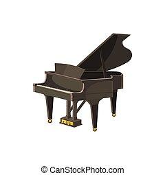 Black grand piano icon, cartoon style - Black grand piano...