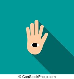 Hand with the eye icon in flat style