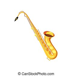 Saxophone icon in cartoon style