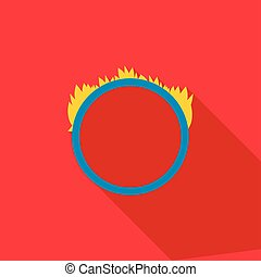 Ring of fire icon, flat style - Ring of fire icon in flat...