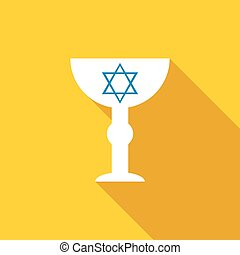 Cup with Star of David icon, flat style - Cup with Star of...