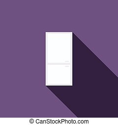 Refrigerator icon, flat style - Refrigerator icon in flat...