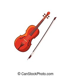Violin with fiddlestick icon, cartoon style - Violin with...