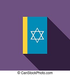 Jewish holy book icon, flat style - Jewish holy book icon in...