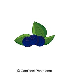 Ripe bilberries with green leaves icon in cartoon style on a...