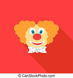 Head of clown icon, flat style - Head of clown icon in flat...