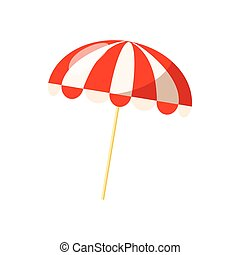 Striped beach umbrella icon, cartoon style - Striped beach...