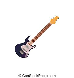 Black electric guitar icon, cartoon style - Black electric...