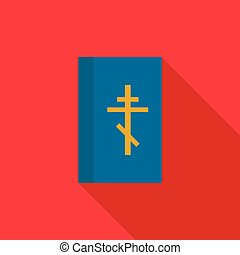 Blue bible book icon, flat style - Blue bible book icon in...