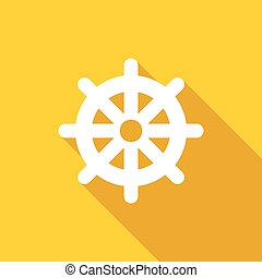 Wheel of Dharma icon, flat style - Wheel of Dharma icon in...