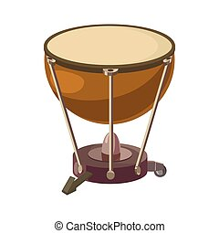 Drum icon in cartoon style