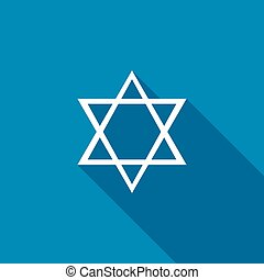 Star of David icon, flat style - Star of David icon in flat...