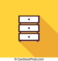 Chest of drawers icon, flat style - Chest of drawers icon in...