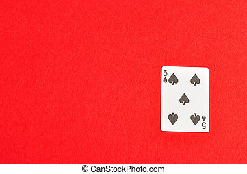 Playing card. Five of spades