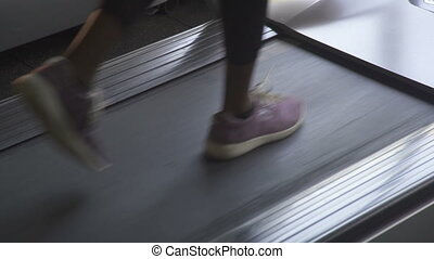 Close up woman's legs in purple sneakers walking on a...