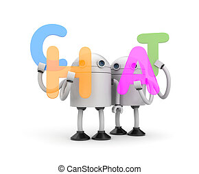 Group of robots with word CHAT