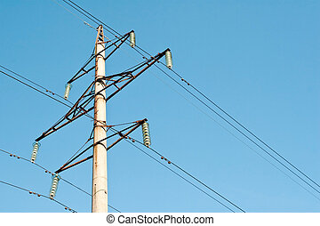 power line - high voltage power supply line on a blue sky...