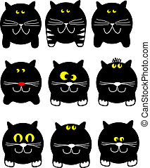 Round cats - round cats with different facial expressions,...