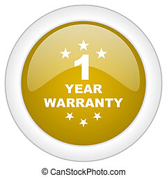 warranty guarantee 1 year icon, golden round glossy button,...