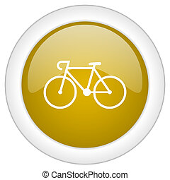 bicycle icon, golden round glossy button, web and mobile app...