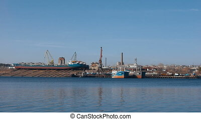 The industrial part of the coast. View of the Shipyard from...