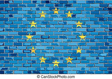 Flag of Europe on a brick wall