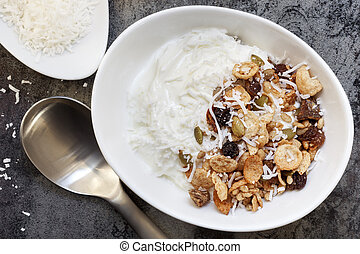 Yoghurt Muesli or Yogurt Granola with Coconut - Yoghurt...