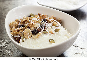 Yoghurt muesli or yogurt granola with coconut