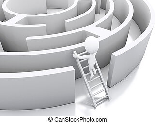 3d White people in a maze with white stairs. - 3d renderer...