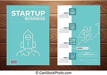 Startup business book cover and flyer a4 template layout...